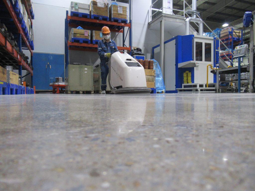 Quy trình thi công mài sàn đánh bóng tại nhà máy ABB – Khu CN Tiên Sơn, Bắc Ninh.